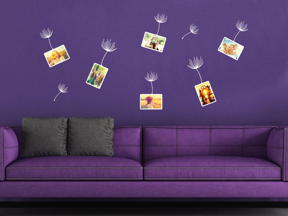 Wandtattoo Zusatzrahmen Set Fotorahmen Pusteblume im Wohnzimmer
