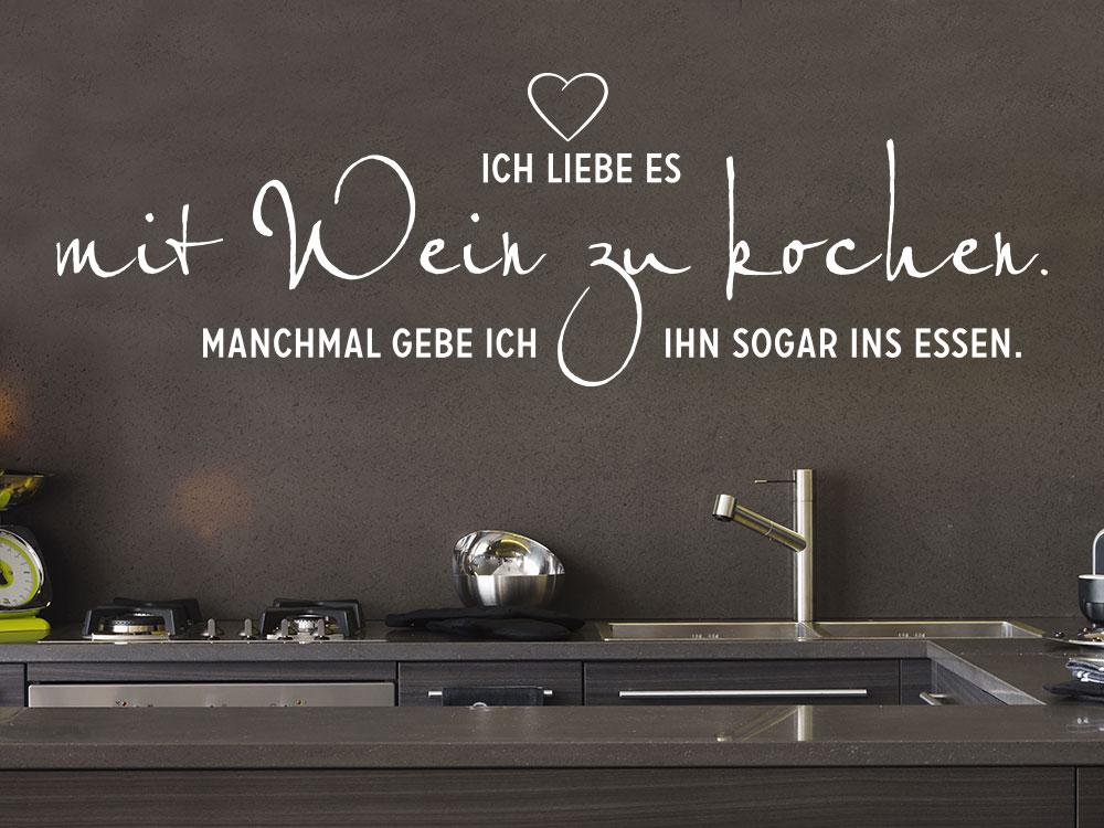 Lustiger Wandtattoo Spruch Mit Wein zu kochen für die Küche