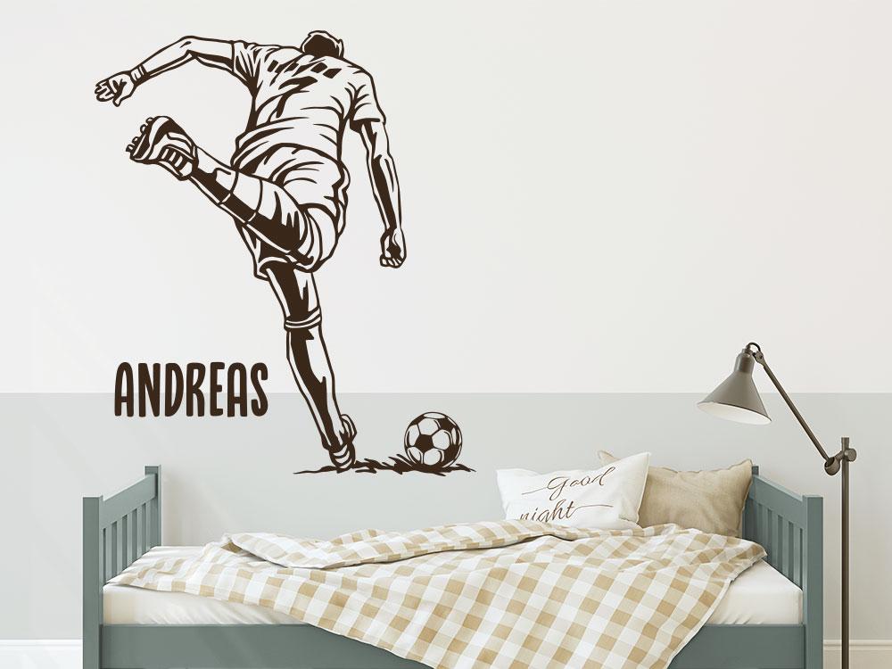 Fußballstar mit Name Wandtattoo