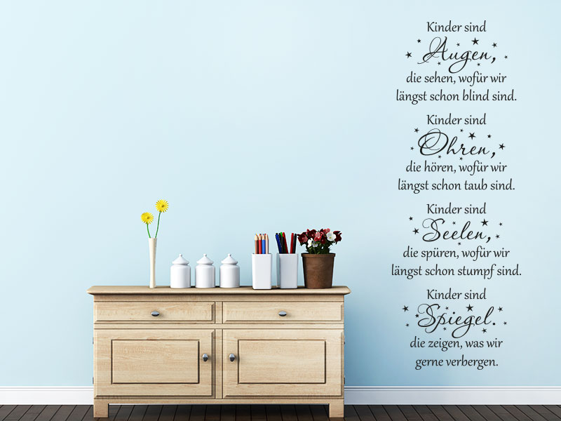 wandtattoo kinder sind augen spruch babyzimmer. Black Bedroom Furniture Sets. Home Design Ideas