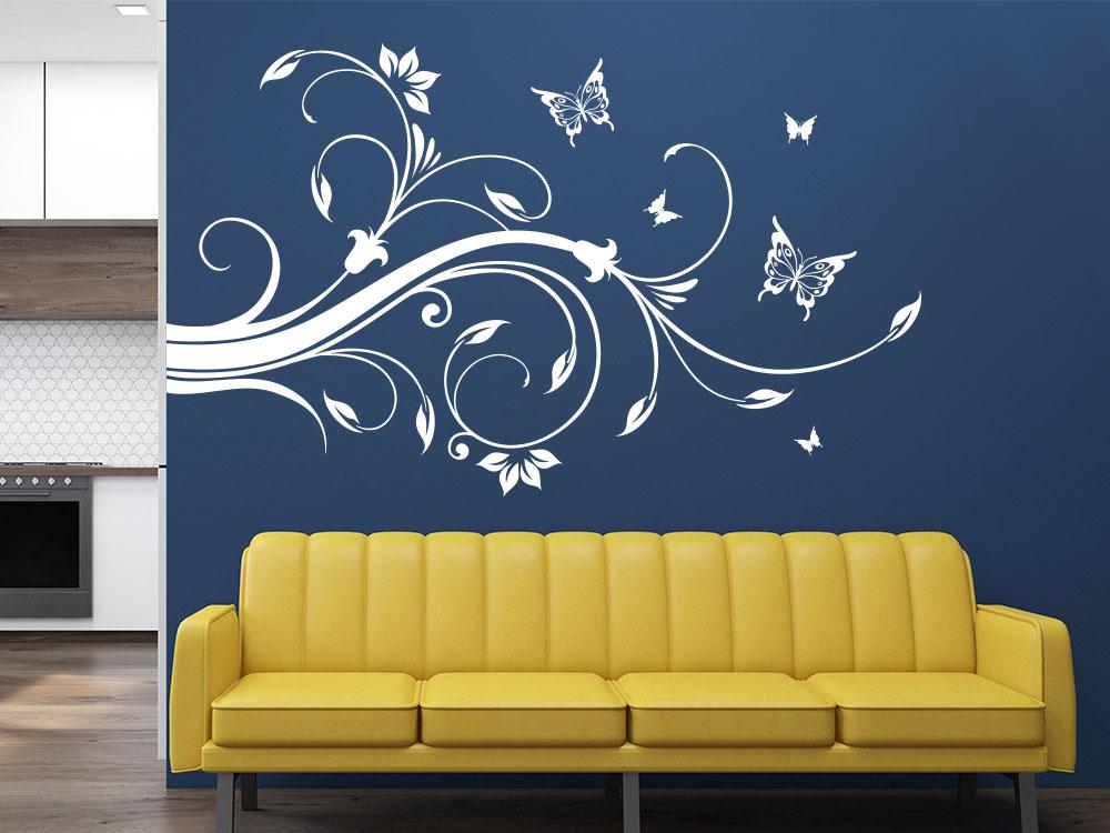Wandecken Wandtattoo Ornament zwischen Wohnzimmer und Küche