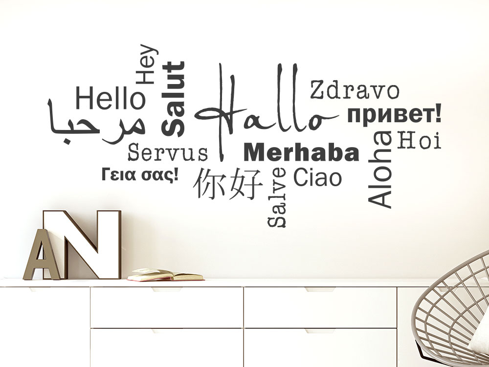 Modernes Hallo Wandtattoo in mehreren Sprachen