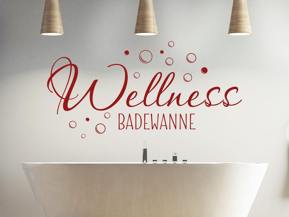 Wandtattoo Wellness Badewanne auf heller Wand im Bad
