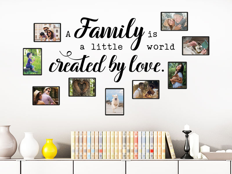 Wandtattoo fotorahmen a family is ceated by love klebeheld - Wandtattoo family ...