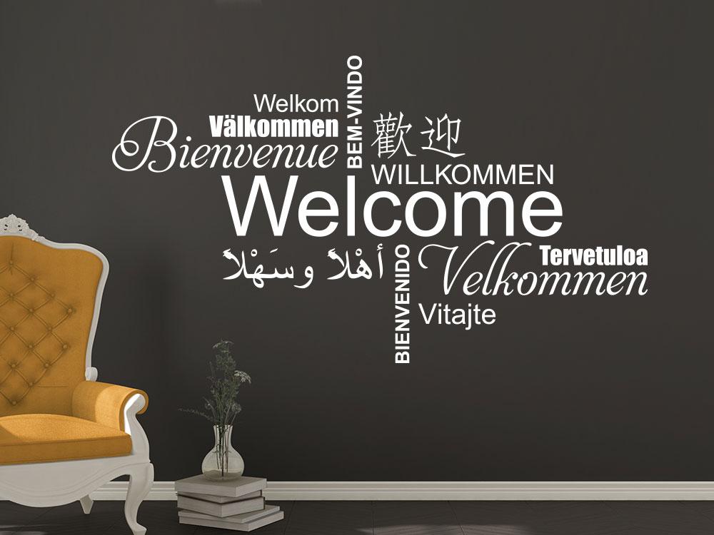 Wandtattoo Welcome Multikulturell im Flur
