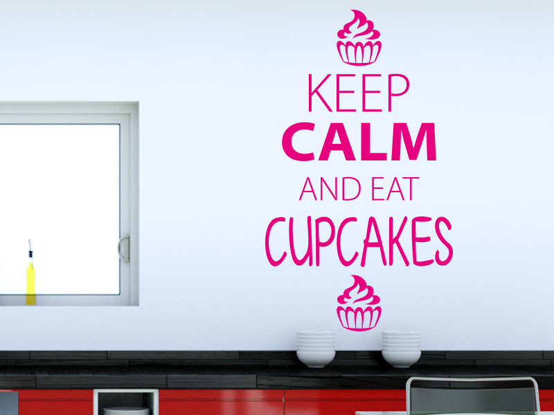 Wandtattoo Keep calm and eat cupcakes