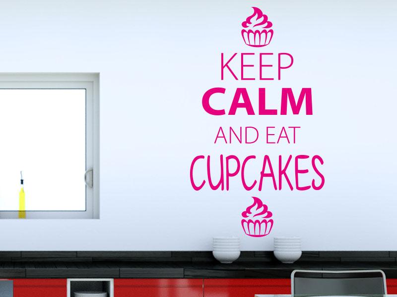 Wandtattoo Keep calm and eat cupcakes
