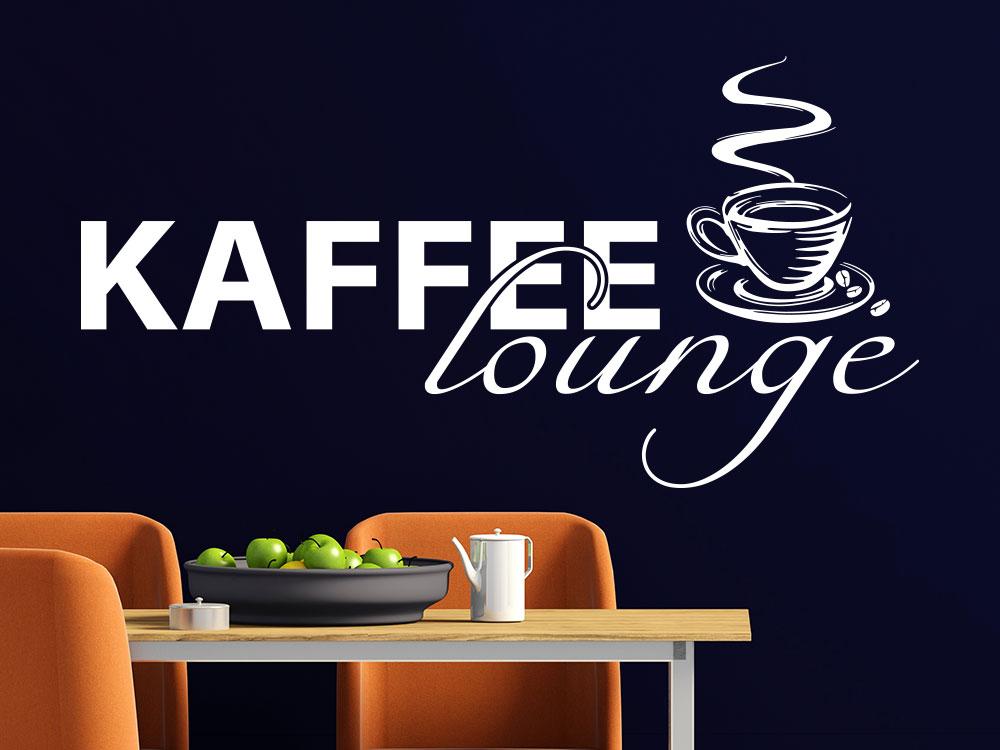 Wandtattoo Kaffee Lounge  mit Kaffeetasse und Bohnen in Küche