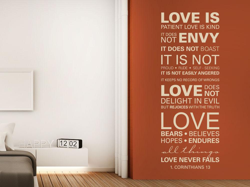 Wandtattoo 1 Corinthians 13 - Love never fails