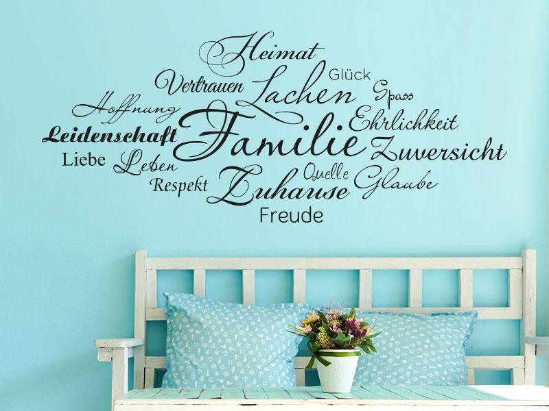wandtattoo familie in worten klebeheld wandtattoos. Black Bedroom Furniture Sets. Home Design Ideas