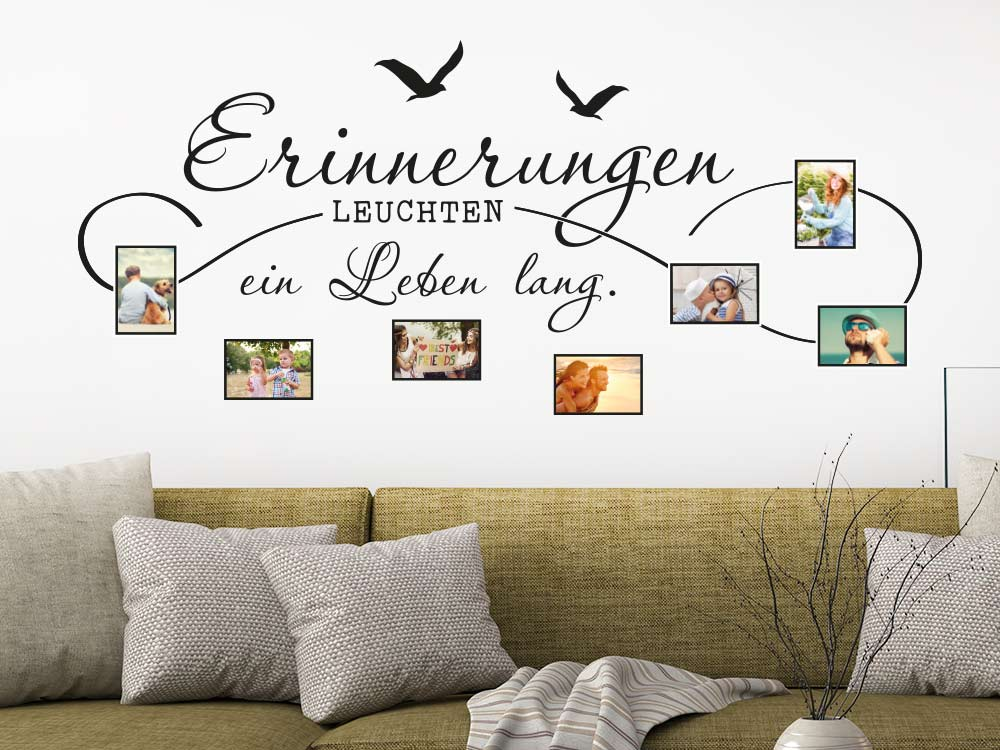 fotorahmen wandtattoo erinnerungen leuchten klebeheld de. Black Bedroom Furniture Sets. Home Design Ideas