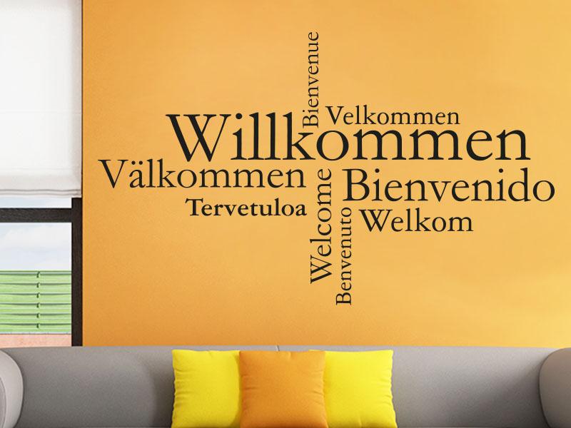 Wandtattoo Willkommen Wortwolke International