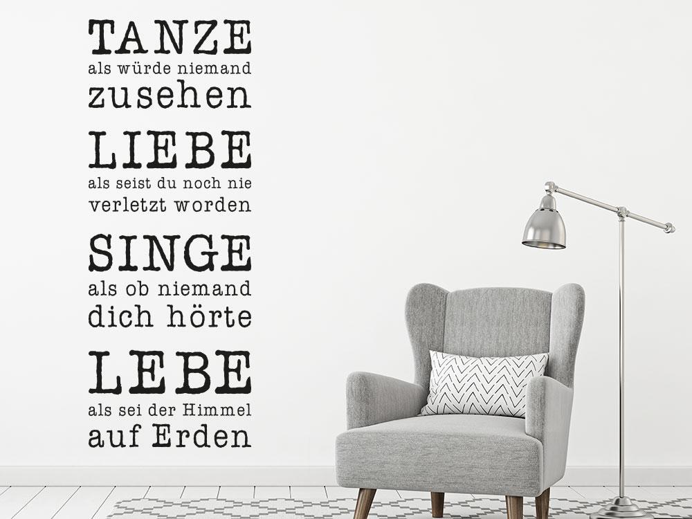 Wandtattoo Spruch Tanze Liebe Singe Lebe im Wohnzimmer