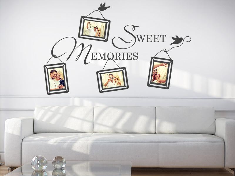 Wandtattoo Fotorahmen Sweet Memories auf weisser Wand