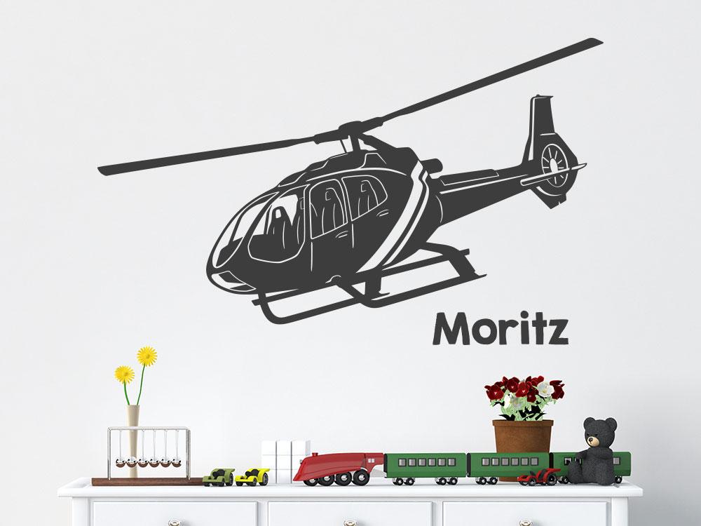 Wandtattoo Hubschrauber mit Name