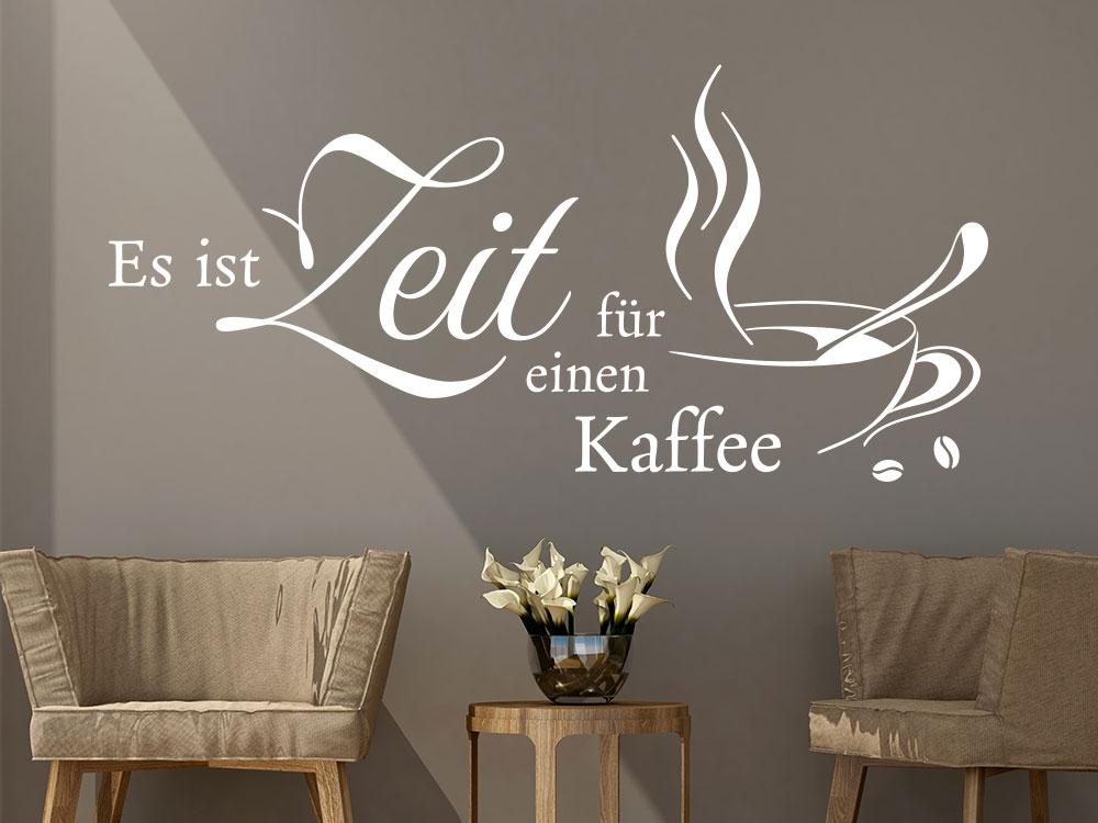 Wandtattoo Es ist Zeit für einen Kaffee - Spruch mit Kaffeetasse