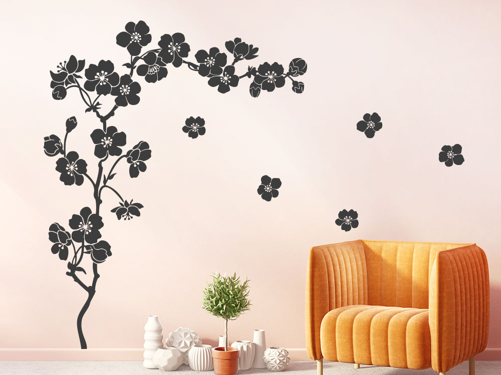 Wandtattoo Kirschblütenzweig im Wohnzimmer