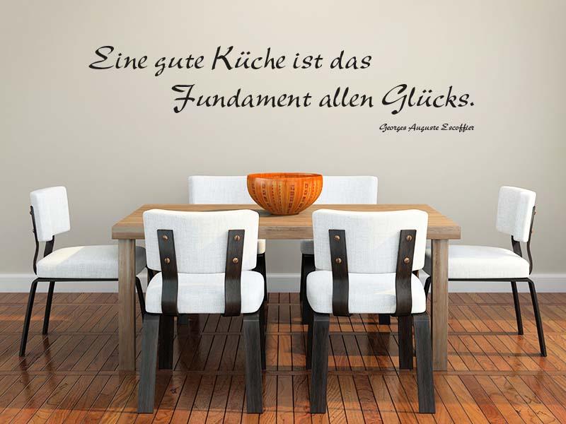 Wandtattoo Zitat Eine gute Küche ist das Fundament allen Glücks