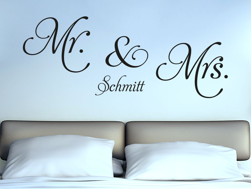 Wandtattoo Mr & Mrs mit Name
