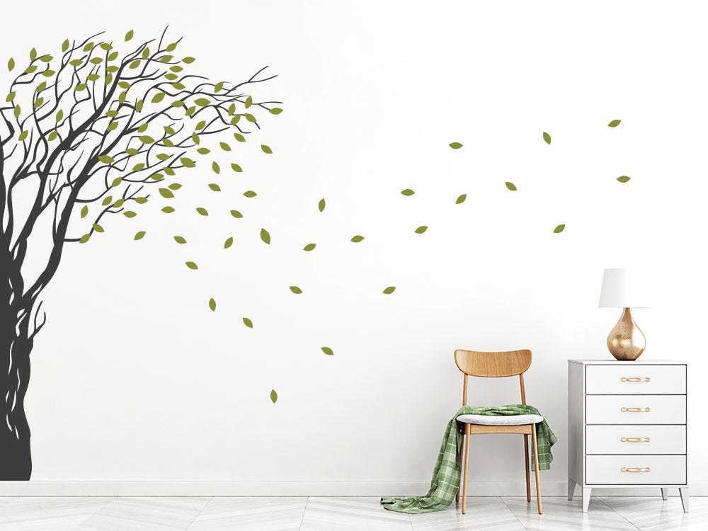 Wandtattoo Baum im Strum für Wandecke