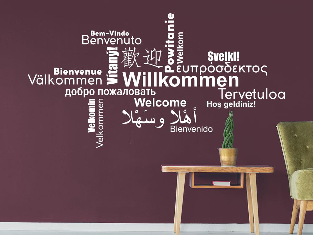 Wandtattoo Willkommen Wortwolke Multikulturell in vielen Sprachen