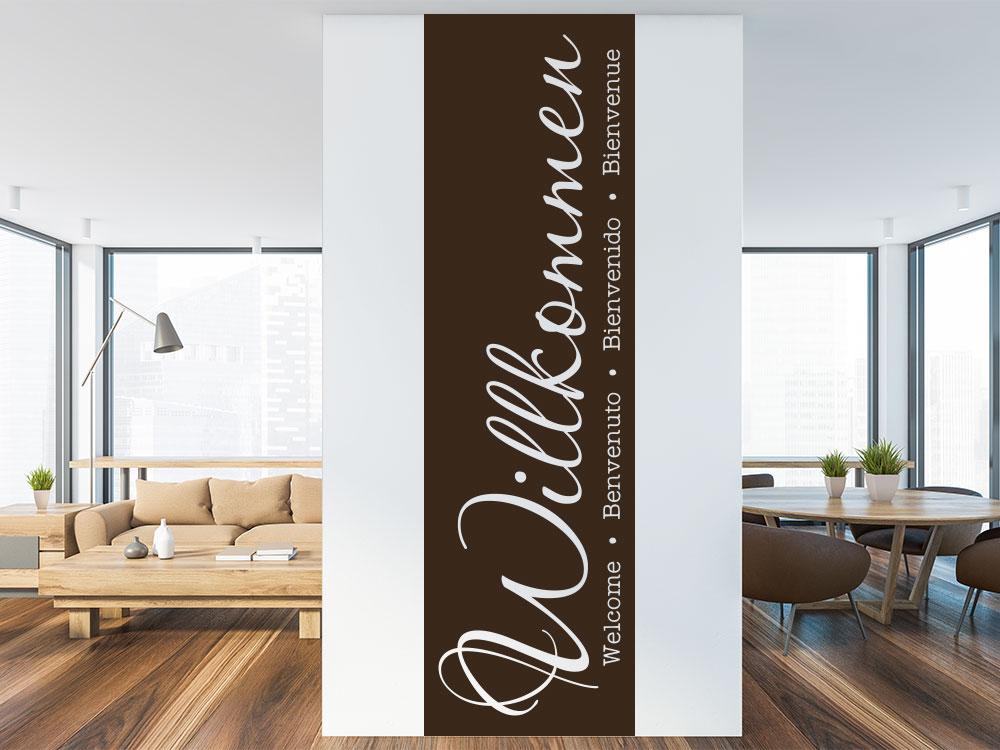Wandtattoo Willkommen Banner im Eingang