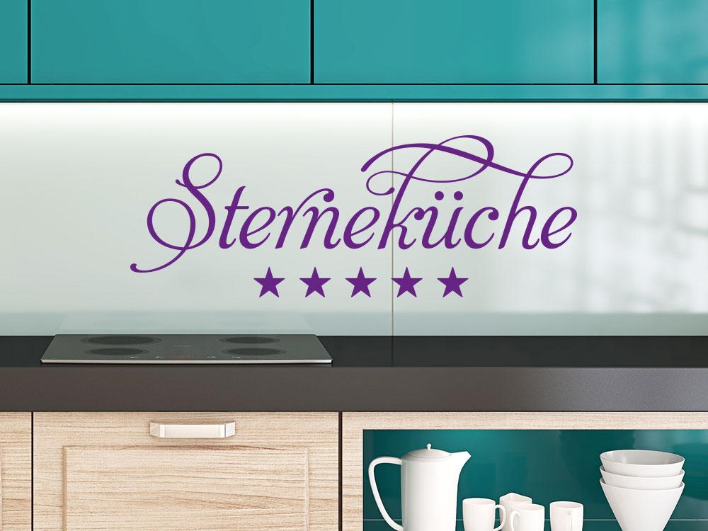 Wandtattoo Sterneküche Schriftzug auf Glasspiegel in der Küche