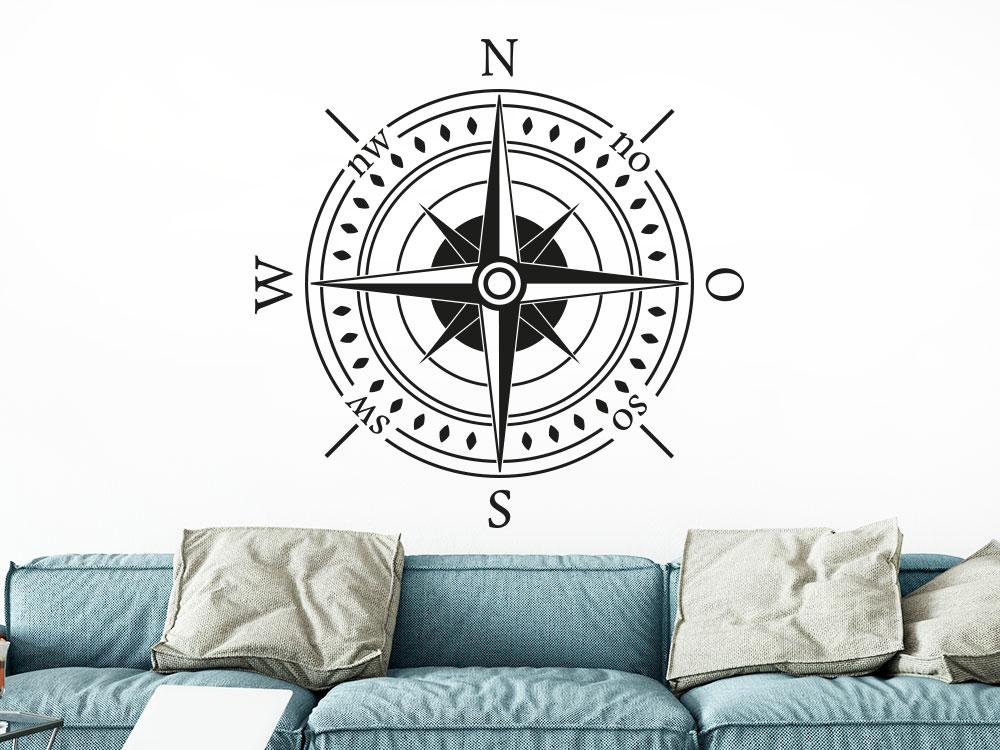 Wandtattoo Kompass Himmelsrichtungen helle Wand