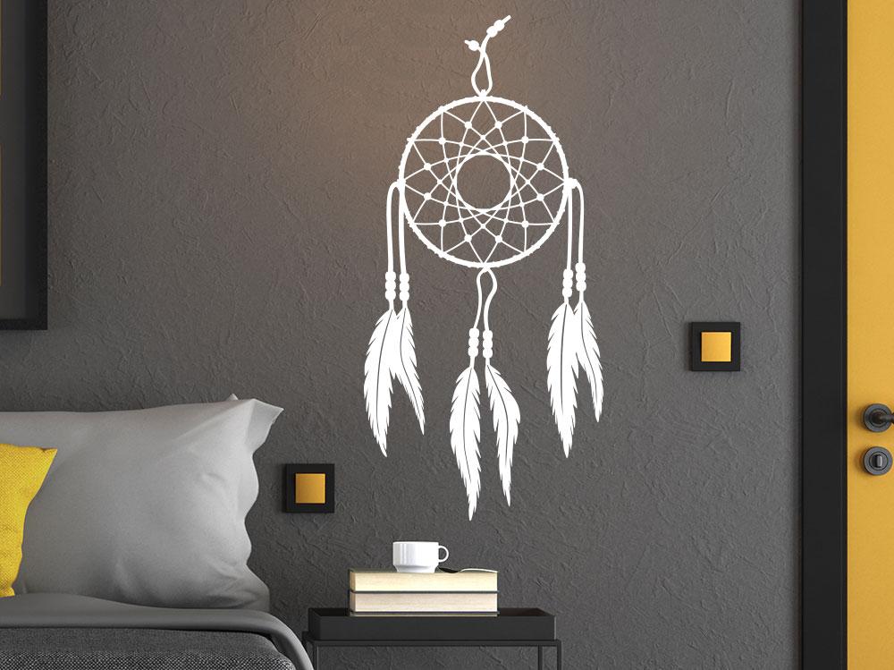 Wandtattoo Traumfänger Indianerfedern im Schlafzimmer
