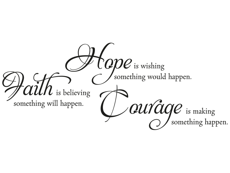 hope sprüche Wandtattoo Spruch Hope Faith Courage   KLEBEHELD® hope sprüche