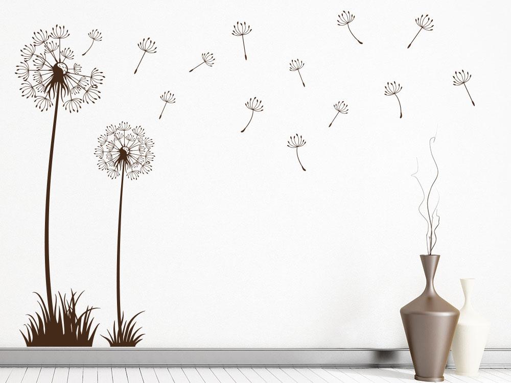 Pusteblumen Wandtattoo Set mit wegfliegenden Samen