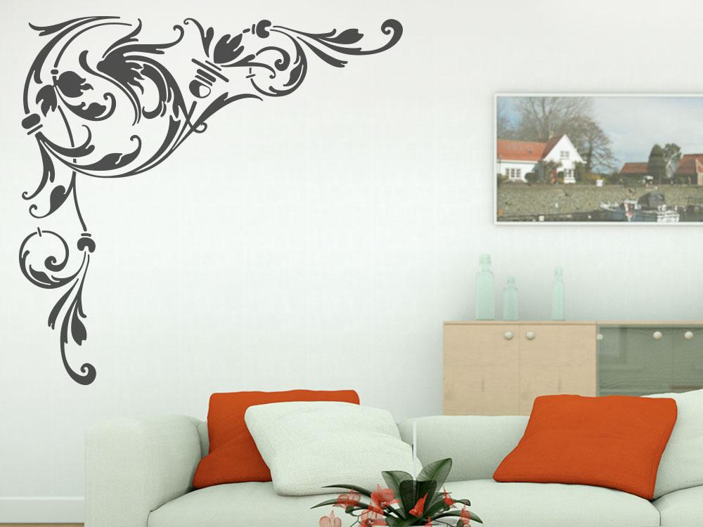 Wandtattoo Ornament Wandecke auf Wohnzimmerwand