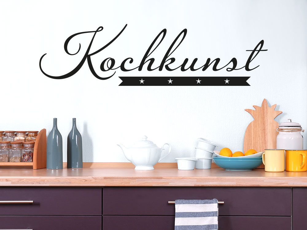 Wandtattoo Kochkunst auf heller Wand in der Küche