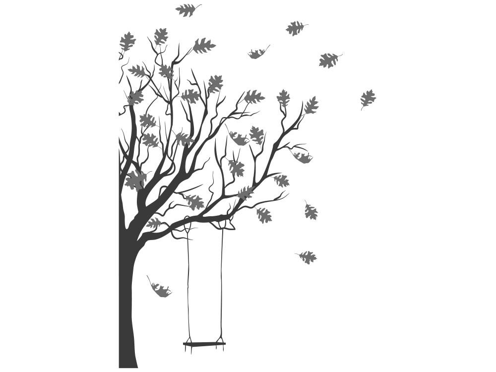 Wandtattoo Baum mit Schaukel - Gesamtansicht des Wandtattoos