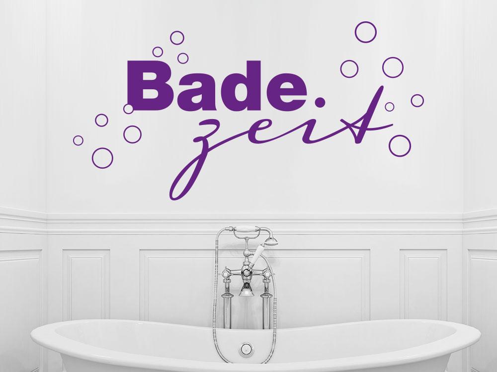 Wandtattoo Badezeit über Badewanne