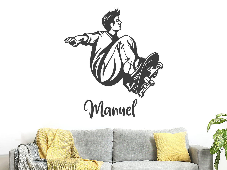 Cooler  Wandtattoo Skater im Kinderzimmer