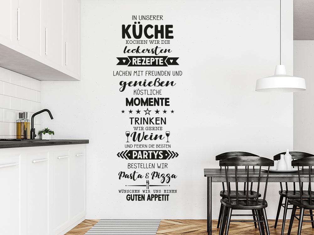 Wandtattoo Spruchband In unserer Küche neben Küchenzeile