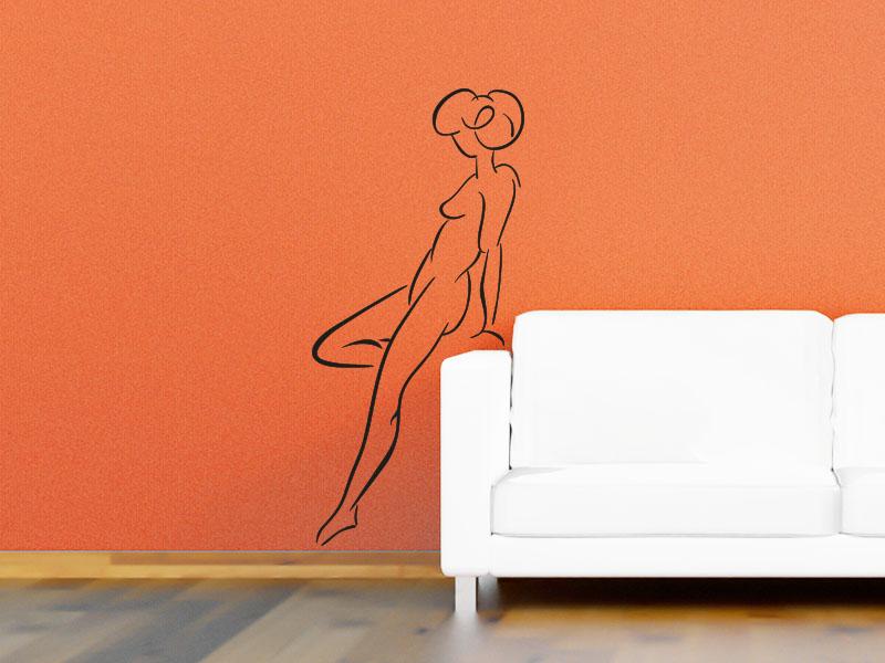 Wandtattoo Frauenportrait in der Seitenansicht