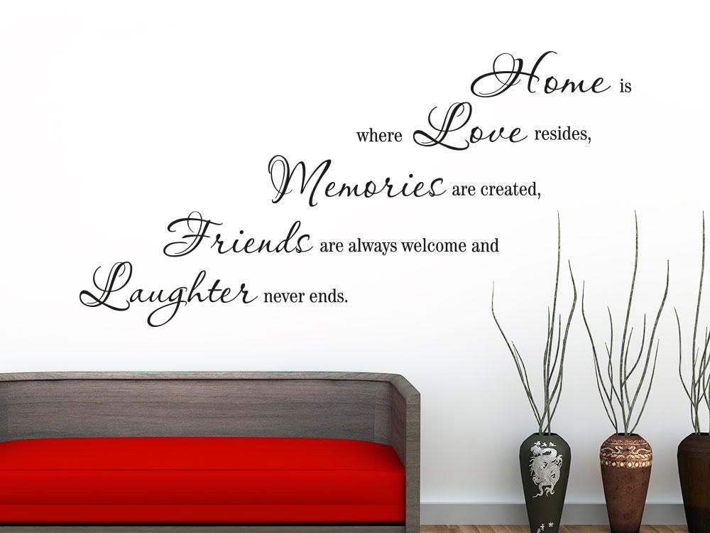 Wandtattoo Home is... auf heller Wand im Wohnbereich