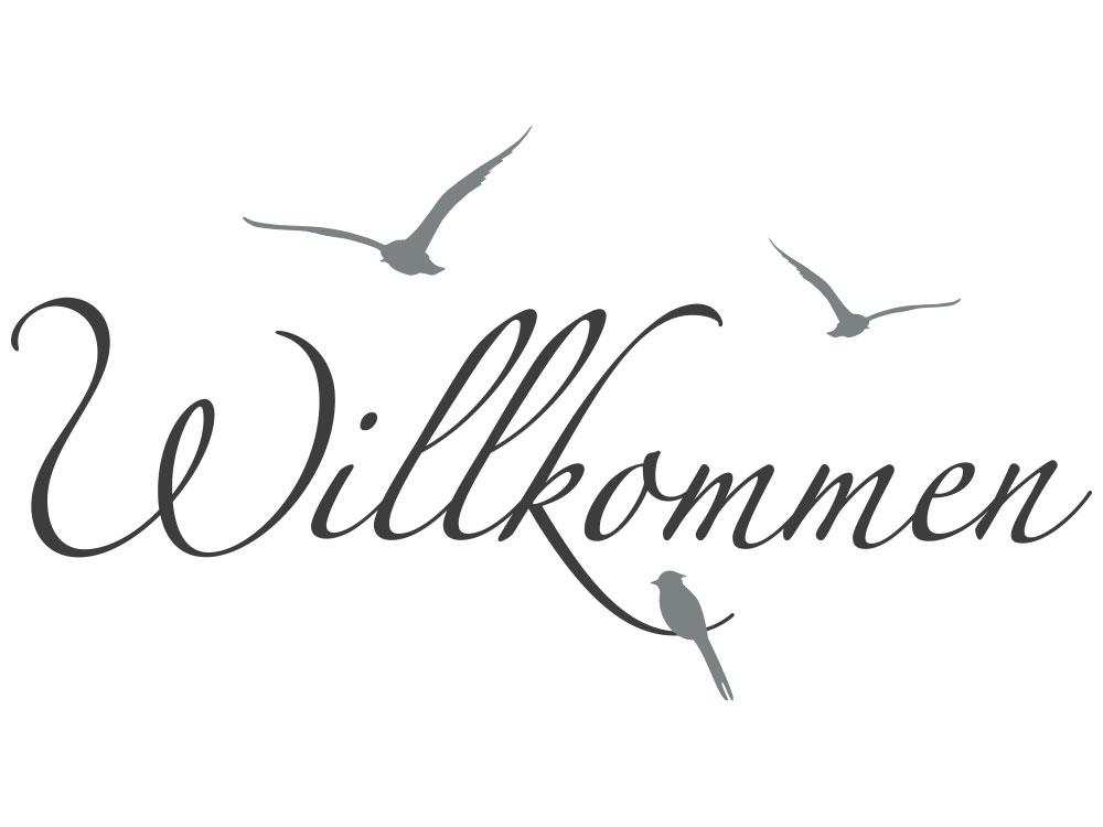 Zweifarbiges Wandtattoo Willkommen mit Vögel - Gesamtansicht des Wandtattoos