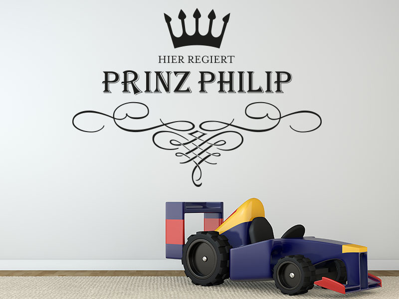 Wandtattoo Hier regiert Prinz - Wunschname