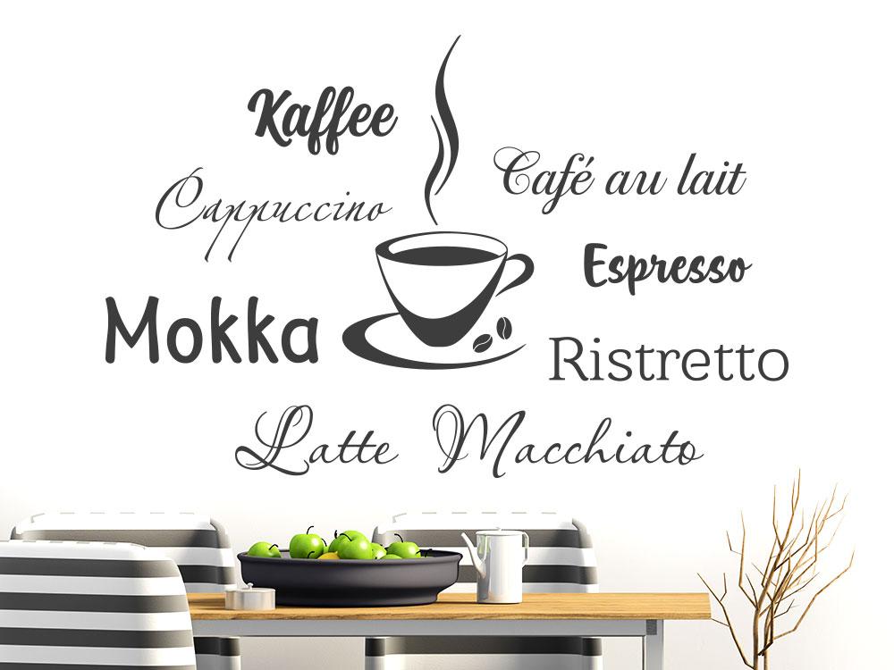 Wandtattoo Kaffeesorten mit dampfender Kaffeetasse
