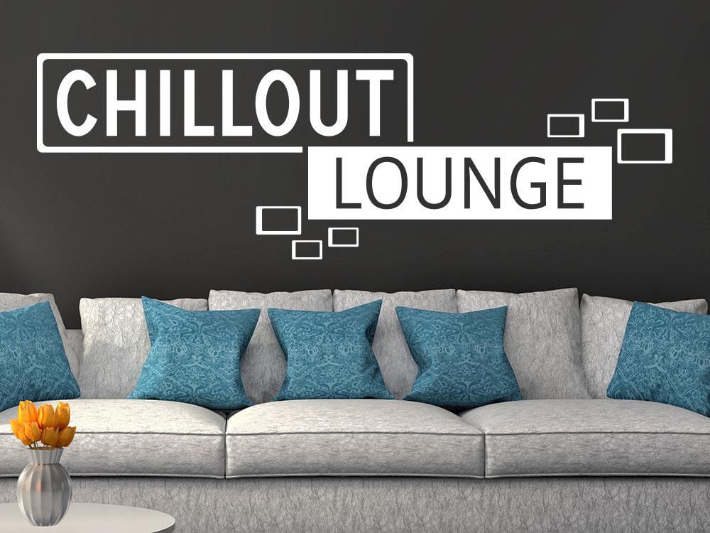 Wandtattoo Chilloutlounge Retro Cubes über Sofa  auf dunkler wand