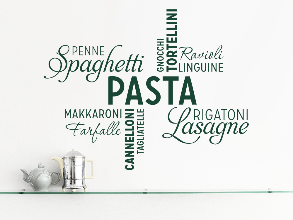 Pasta Wandtattoo Wortwolke... in grün über Arbeitsfläche