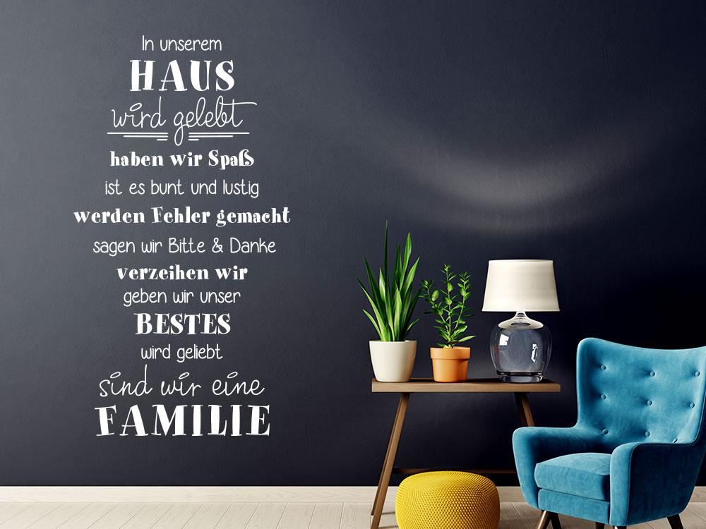 Wandtattoo Spruch In unserem Haus sind wir eine Familie