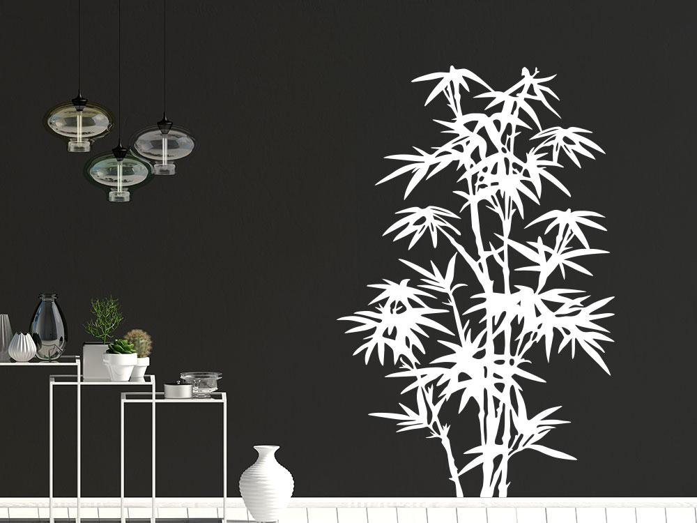Asia Wandtattoo Bambus im Wohnzimmer in der Farbe Weiß