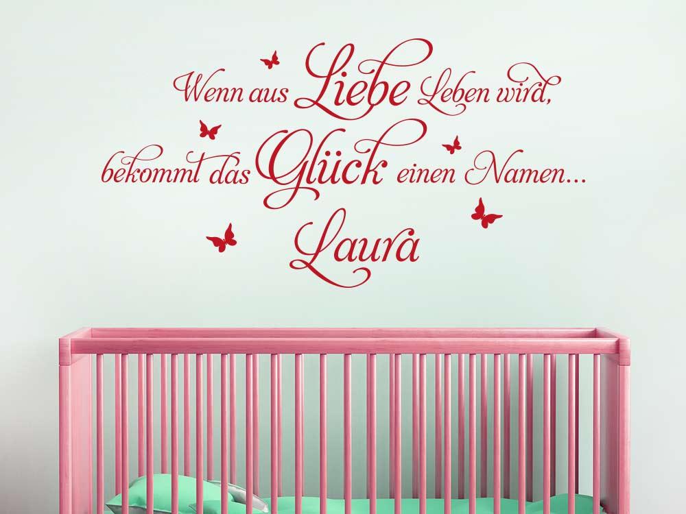 Wandtattoo Spruch Wenn aus Liebe über Bett