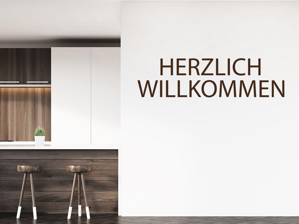 Wandtattoo Modernes Herzlich Willkommen im Hausflur