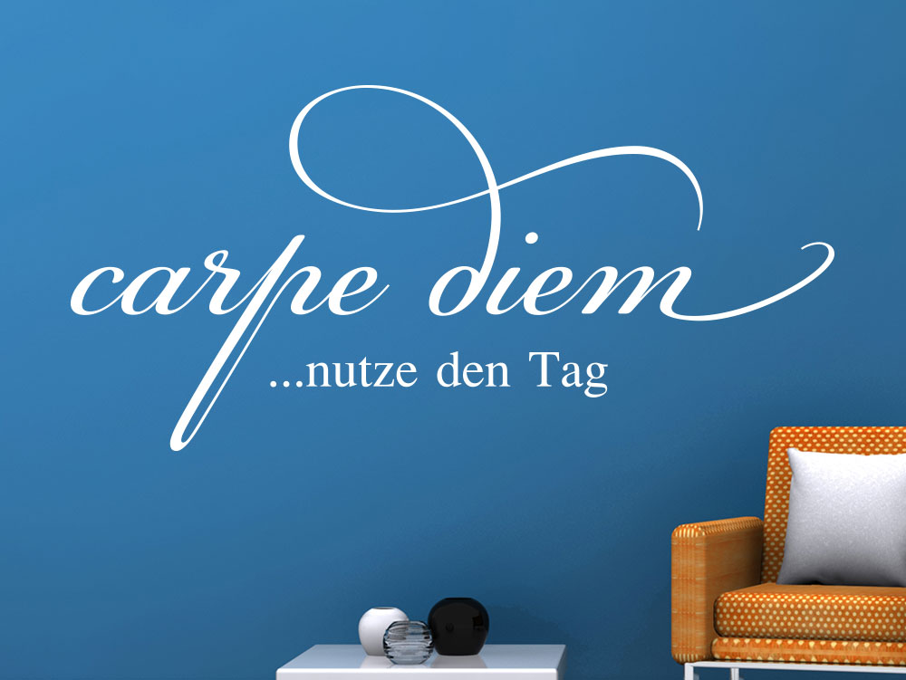 wandtattoo carpe diem nutze den tag spruch klebeheld de. Black Bedroom Furniture Sets. Home Design Ideas