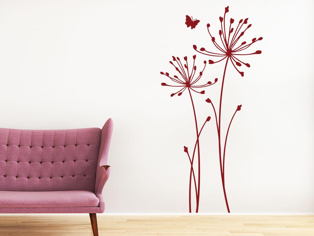 Wandtattoo Wiesenblumen mit Schmetterling